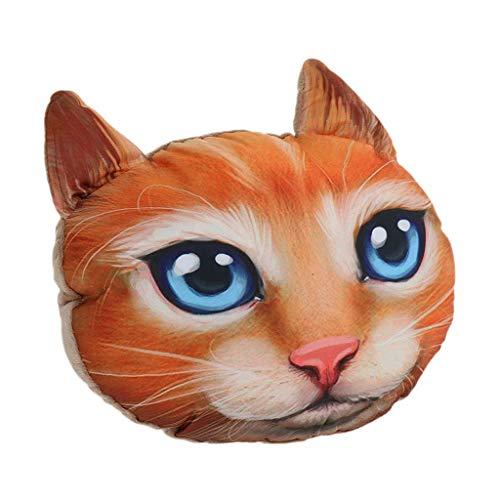 D DOLITY Realistischer 3D Tier Figur Autositz Nackenkissen Cartoon Tier Kissen, eingebaute Kohle-Tasche - Katze -2 D Kohle