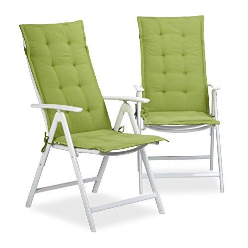 Relaxdays Stuhlauflage Hochlehner, Gartenstuhlauflage 2er Set, Gartenauflagen waschbar, HBT: 120 x...