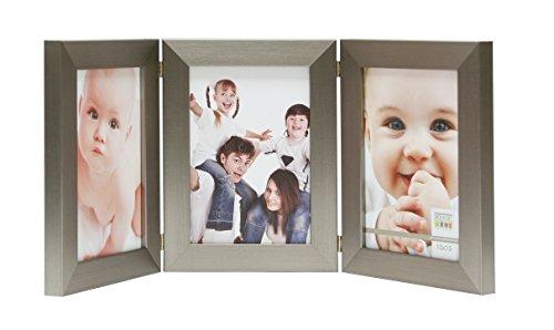 Deknudt Frames S41VD1 H3V Cadre Photo Triptyque Vertical Résine Argenté 13 x 18 cm