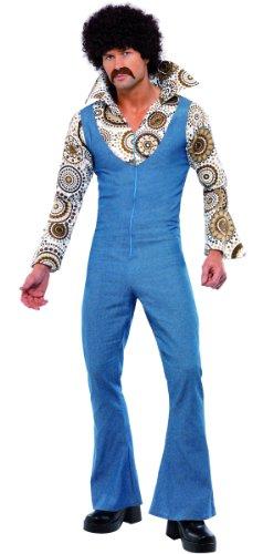 KULTFAKTOR GmbH Disco Tänzer Kostüm 70er Jahre blau-bunt (Disco Tänzer Kostüm)