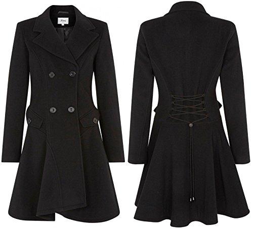 De La Creme Frauen Wolle & Cashmere Winter Zweireiher Mantel, Schwarz, Größe 36