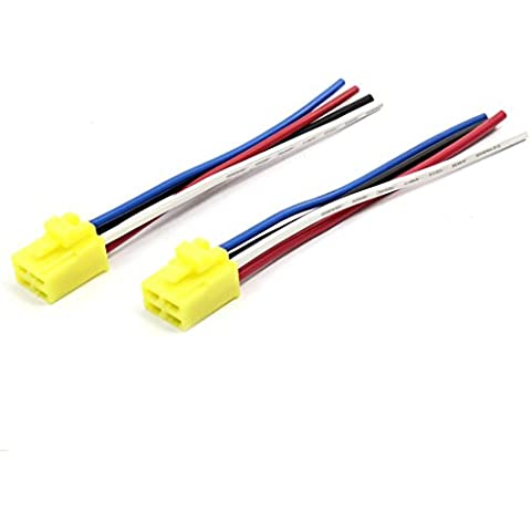 2 piezas amarillo base de la bobina DC 12V de 4 pines del alambre del coche Relay Socket Conector