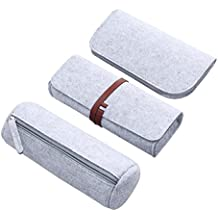 TOYMYTOY Pen Case Felt Pencil Holder Organizer Cosmetic Makeup Pouch Bag (Light Grey,2498662-6508-1715039641) - Pack of 3
