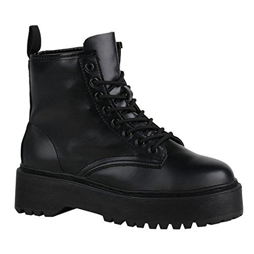 Damen Schuhe Stiefeletten Plateau Boots Chunky Heels Profilsohle 155896 Schwarz Schwarz 39 Flandell (Heel Damen Chunky Booties)
