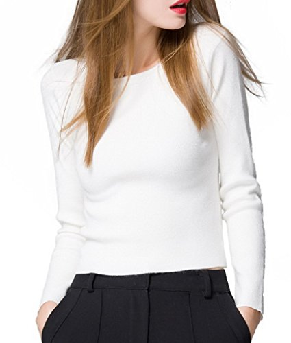 Bigood Pull Femme Sweater Chandail Manche Longue Col Rond Hiver Souple Blanc