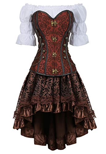 aizen Pelle Corsetto Bustino con Gonna Camicia Steampunk 3 Pezzi Pirata Sexy Burlesque Costumi Marrone 2XL