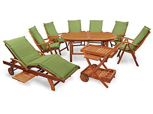 Indoba XL Premium Gartenmöbel Set 16-teilig ! Gartenset inkl, Auflagen grün - Tisch Gartenstühle Servierwagen Sonnenliege Gartenmöbelset Grün 16-teilig