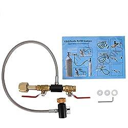 Adaptateur de remplissage de bouteille de CO2 G1 / 2 Connecteur de bouteille Réservoir de CO2 Accessoires préparateur de soda avec tuyau pour remplissage du réservoir Sodastream (24inch With Gauge)