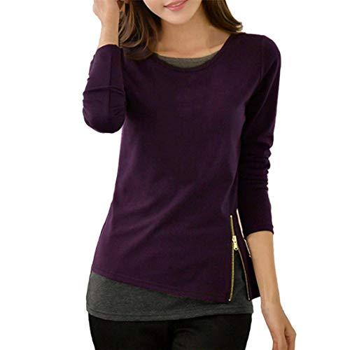 UFACE Damen Schlanke Lange gefälschte Zweiteilige Rundhals-Strick-Shirt grundiert Bluse Shirt Zipper Langarm Bluse Tops Casual Shirts Bluse(Violett,EU/46CN/L)