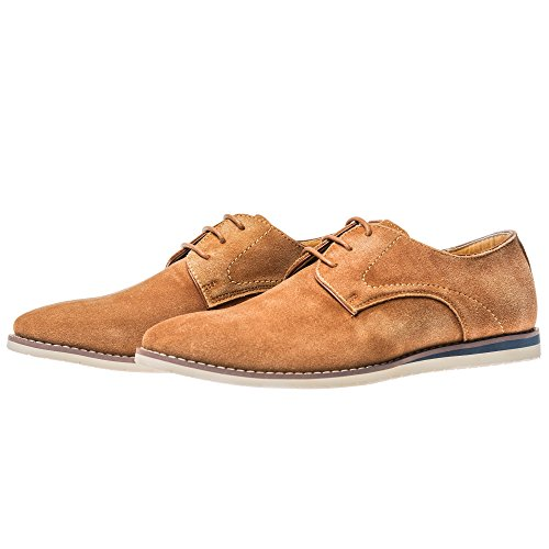 Yolkomo Herren Wildleder Oxford Sneaker Classic Casual Logging Schuhe Für Engere Kleidung Braun