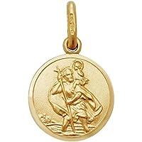 fd480a05c3d1e 9ct Yellow Gold 12mm Diameter Round St Christopher Medallion Charm Pendant