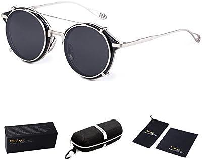 Dollger Doble Lentes Gafas Steampunk Redondas Modernas de sol Lentes Espejo