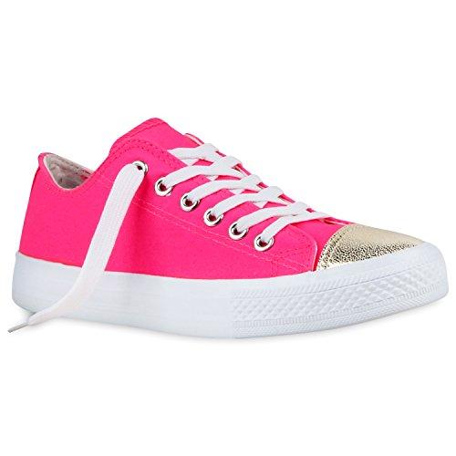 Modische Damen Sneakers Low Metallic Canvas Schuhe Freizeit Neonpink