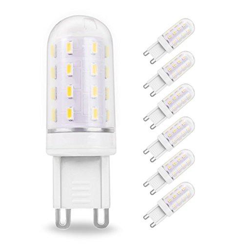 LAKES G9 5W LED Bombilla, equivalente a bombilla de halógeno de 40W, no regulable, 400LM, sin parpadeo, sin luz estroboscópica, blanco de luz diurna 6000K, bombilla LED de ahorro de energía, 6 PACK