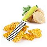 Shaoyunshop Wavy chopper Potato cutter coltello Crinkle Cutters Crinkle utensile da taglio francese Fry affettatrice lama in acciaio INOX insalata di verdure tagliere coltello