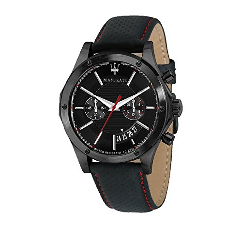 MASERATI Mens Chronograph Quartz Watch with Leather Strap R8871627004
