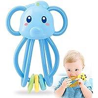 Wudi 1pc Mano del bebé Bola de cogida Juguetes para niños del traqueteo del bebé y Teether Lindo Juguetes Juguetes Dientes de la Historieta Animal de mascar (Azul)