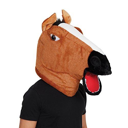 7 Pferd Maskottchen Maske, Braun/Schwarz, Unisex- Erwachsene Einheitsgröße ()