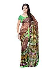 Ambaji Brown Georgette Printed Saree Sari Sarees - B00W5FW4CK