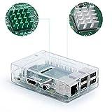 Aukru Transparente Caja para Raspberry Pi 3 Model B y Pi 2 Model B/B+ (B Plus) con 3X disipador de Calor