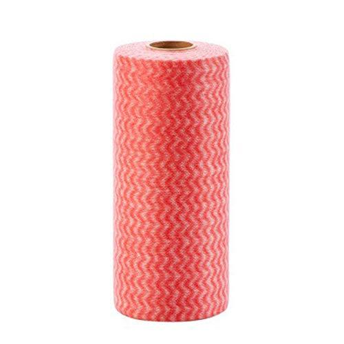 VIMOER Einweg-Reinigungstuch, 25 Blatt/Rollen, Mehrzweck, Nicht gewebt, Reinigungstuch, Küchentuch, Küchentuch 25 Pcs/Roll rot