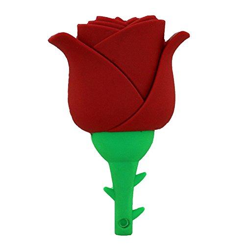 64GB USB 2.0 Flash Drive Neuheit und Schöne Rote Rose Blume Form Memory Stick Schönheit Daumen Laufwerk Lagerung Cool Pendrive Jump Drive U Disk