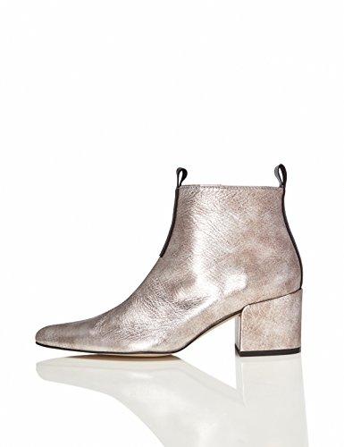FIND Damen Ankle Boots mit Blockabsatz, Silber (Silver), 39 EU