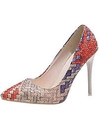 f8d35a81a6d FuweiEncore Botas Zapatos para Mujer, Zapatos de Guisantes Zapatos de  Tacones Finos de Moda Colores Mezclados Salvajes Zapatos…