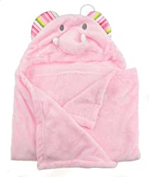 Luxury Baby Girls or Boys Super Soft Fleece Hooded Blanket Dressing Gown Towel Pink Elephant or Blue Doggy