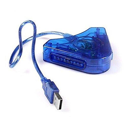 Einfach Silber-New Blau Dual Joypad Game Controller zu PC USB Konverter Adapter für PS1PS2PSX-Unbranded