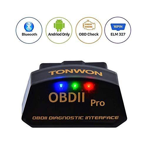 TONWON Pro Bluetooth 3.0 OBD2 ELM327 lector de código de avería del coche para Android (negro)