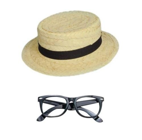 Dress Girl Kostüm Geek Fancy - School Girl Kit - Straw Boater Hat and Black Geek Glasses Fancy Dress
