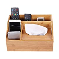 Abester Multifunction Bamboo Storage Box,Store Your Makeup,remote controls,mobile phone,Tissue,pens,glasses,Watch,Living small items (4 intervals)