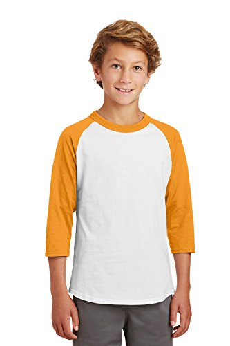 Sport-Tek® Youth Colorblock Raglan Jersey. YT200 White/Gold L (Raglan-jersey-shirt Colorblock)