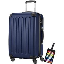 HAUPTSTADTKOFFER® Hartschalen Koffer SPREE 1203 · NEU 4 Doppel-Rollen · MATT · TSA Zahlenschloss · + KOFFERANHÄNGER (82 Liter, Dunkelblau)