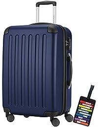 Hauptstadtkoffer® Bagaglio a mano (82 litri) con un lucchetto TSA Seria SPREE (Colore Blu Scuro con 1 ciondolo per la valigia)