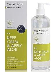 *Nouveau* Gel d'Aloe Vera - Thérapie hydratante (473ml) avec pompe - Pour la peau sèche et squameuse, coup de soleil, acné, brûlure de rasoir, psoriasis, eczéma et autres irritations de peau