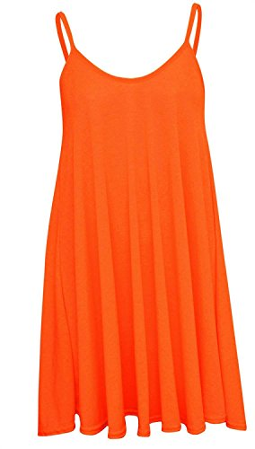 New Womens Plus Size Hanky Cami Swing Sleeve Less Vest Dress ( Neon Orange , UK 16-18 / EU 44-46 ) (Cami Orange)