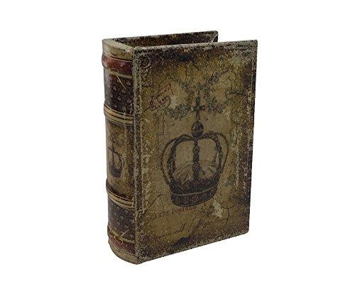 zeitzone Hohles Buch mit Geheimfach Krone Antik-Stil Buchversteck Aufbewahrungsbox 15cm