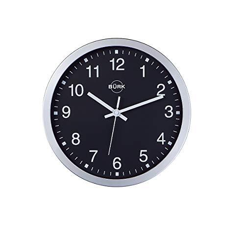 Horloge murale en plastique ABS coloris argent, Ø 300 mm - cadran noir - horloge à quartz - horloge horloge murale horloge murale radio-pilotée horloge radio-pilotée horloges horloges murales horloges murales radio-pilotées horloges radio-pilotées pendule
