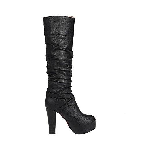 AllhqFashion Damen PU Leder Hoher Absatz Rein Ziehen auf Stiefel, Schwarz, 35