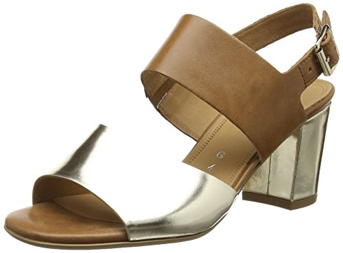 Gabor Obelisk, Damen Sandalen, Gold (Platinum Metal/Brown Leather), 42 EU (8 UK)