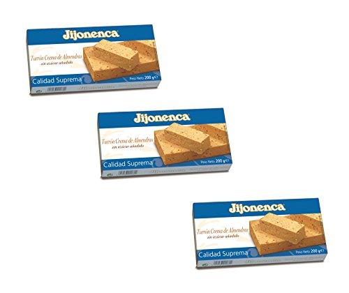 Jijonenca - Pack comprend 3 Turron Crema de Almendras, Nougat mou crème d'amandes - Qualité Supérieure - 200gr (Sans Gluten) - (Touron)Produit Espagnol / Nougat Espagnol