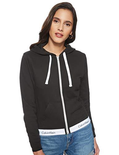 Calvin Klein Damen TOP Hoodie Full Zip Kapuzenpullover, Schwarz (Black 001), One Size (Herstellergröße: S)