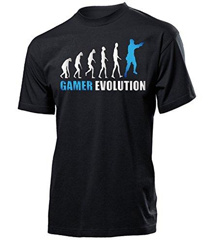 GAMER EVOLUTION 2005 Herren T-Shirt (H-SW-Weiss-Blau) Gr. XL (2005 T-shirt Weißes)