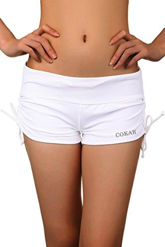Cokar Damen Bikinihose weiß weiß Asian M = US S - Junioren Badeanzug Bikini Bottom