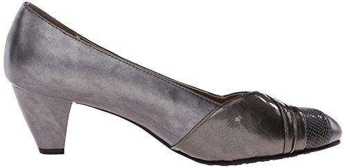 Soft Style by Hush Puppies Women's Danette dress Pump, Black Vitello/Patent, 10 M US Grey