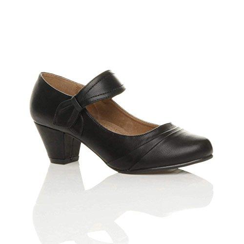 Femmes talon moyen babies travail chaussures de confort escarpins pointure Mat noir
