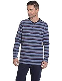 El Búho Nocturno Pijama de Caballero de Manga Larga y a Rayas Pijama Barato Moderno Pijama de Entretiempo de Punto de algodón para Hombre