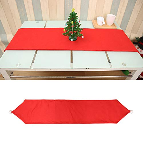 Huhuswwbin Tischdecke, Weihnachtsmotiv, 176 cm, Vlies-Tischläufer, Weihnachtstischdecke, Bankett, Party, Esstisch-Dekoration, Rot